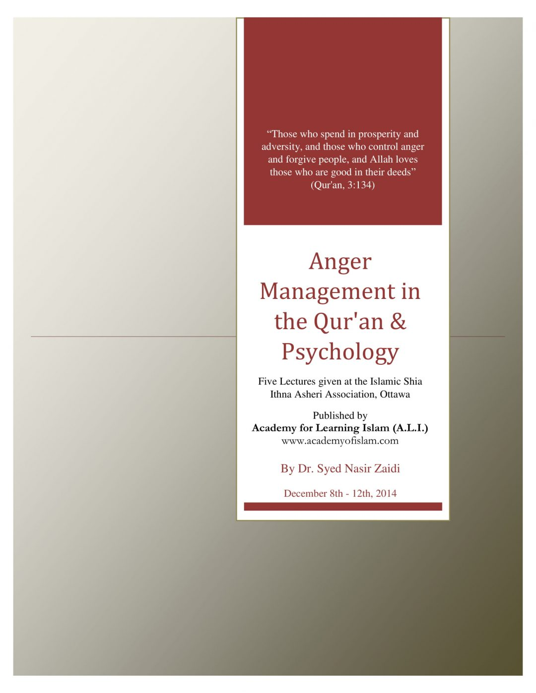 Anger Management in the Quran and Psychology